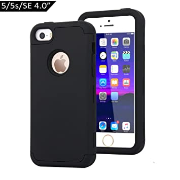 Dailylux Funda iPhone 5s Funda iPhone 5 Funda iPhone SE Carcasa Protector TPU + PC Resistente a los arañazos para el iPhone 5S 5 SE -Negro