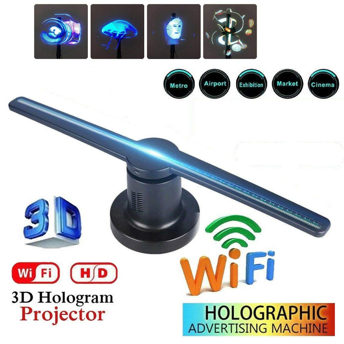 Momorain 3D LED WiFi holográfico proyector Pantalla Ventilador ...