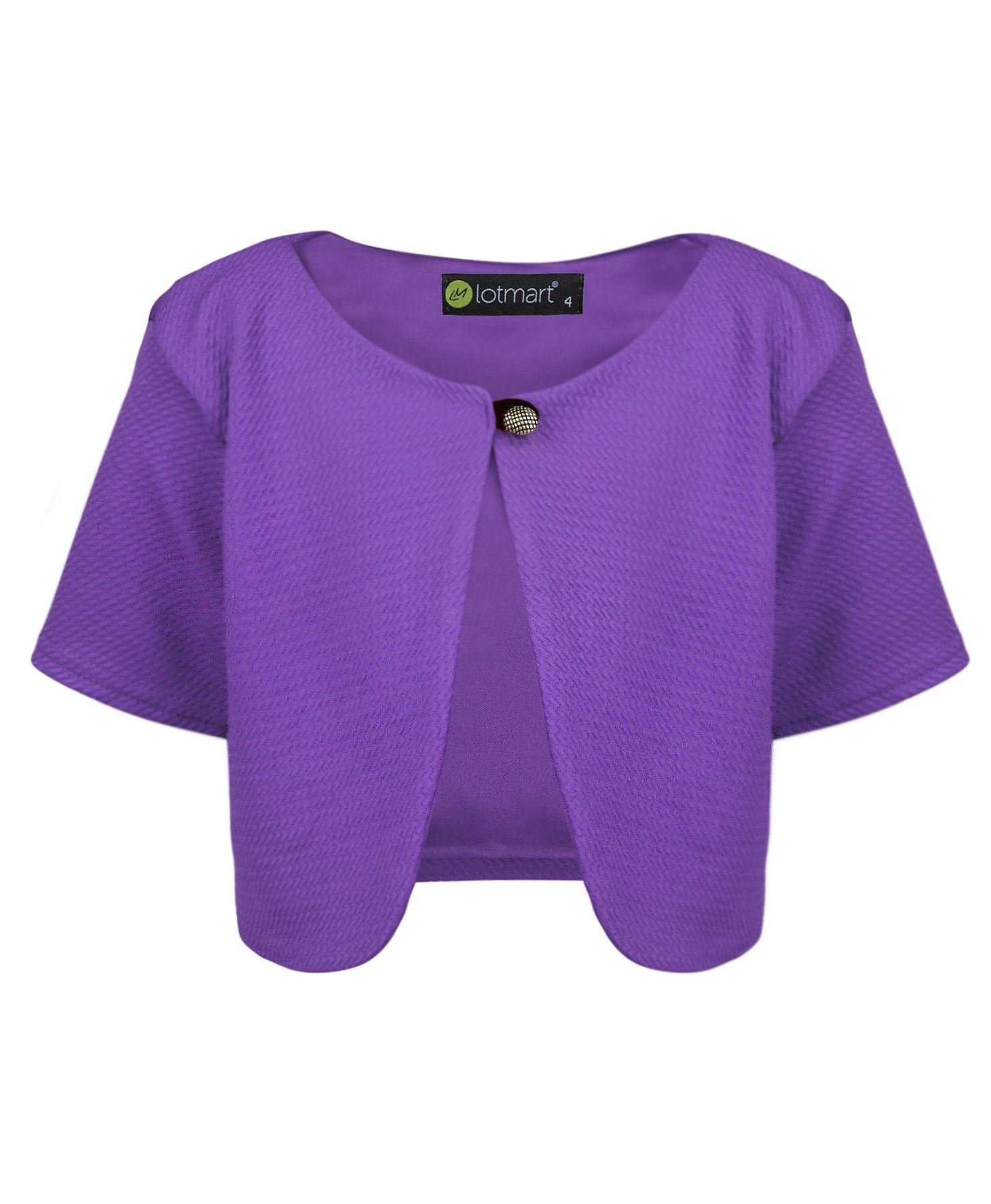 LotMart 3760 Purple 5-6 Y Girls Cropped Bolero & Free Gift Pen per Parcel