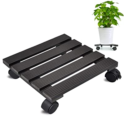 CERBIOR Plant Caddy Heavy Duty Plant Pot with Wheels Indoor/Outdoor Holds Up 12 Inches and 80 Lbs Strong and Sturdy Design (Square, Charcoal): Garden & Outdoor