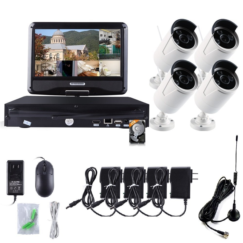 ZY 4PCS HD WiFi Wireless Indoor Outdoor Home Security Camera System with HDMI NVR with 10'' inch LCD Screen Display Monitor, Remote Playback, Cloud Service Available (With 2TB HDD) (960P)