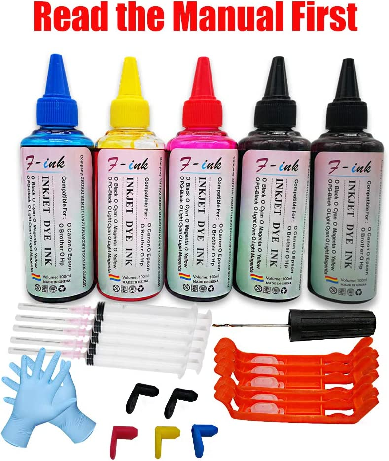 F-ink 5x100ml Bottles Ink and Ink Refill Tools Compatible for Canon PGI-280XL CLI-281XL PGI-280XXL CLI-281XXL PGI-270XL CLI-271XL Ink Cartridges-Reuse The Old OEM Ink Cartridges