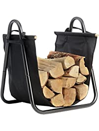 Fireplace Log Holder With Canvas Tote Carrier Indoor Fire Wood Rack Black  Firewood Storage Holders Log