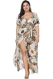 ec90e17c33 Romwe Women s Plus Size Floral Print Buttons Short Sleeve Split ...