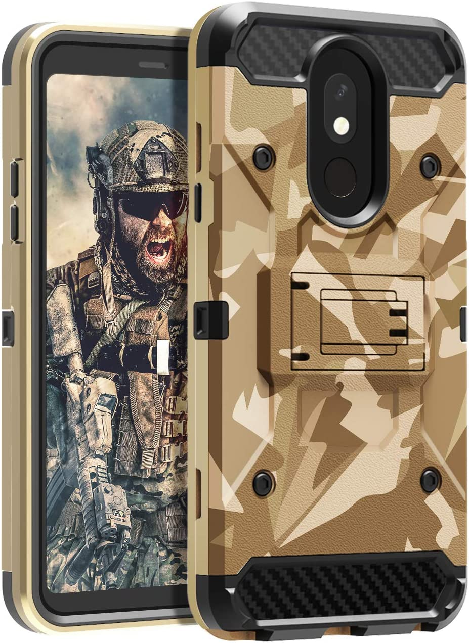 LG Stylos 5 Case HUATRK Kickstand Three Layer Heavy Duty Camo Shockproof Protective Cover,Camouflage Yellow