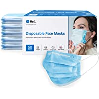 Reli. Face Masks (50 Masks) Disposable Face Mask Protection with Filter Layer -...