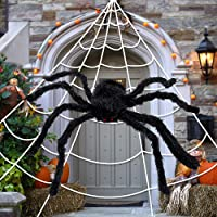 synmixx Halloween Spider Decorations - Giant Halloween Spider Web and Fake Large Hairy Spider Props for Halloween…