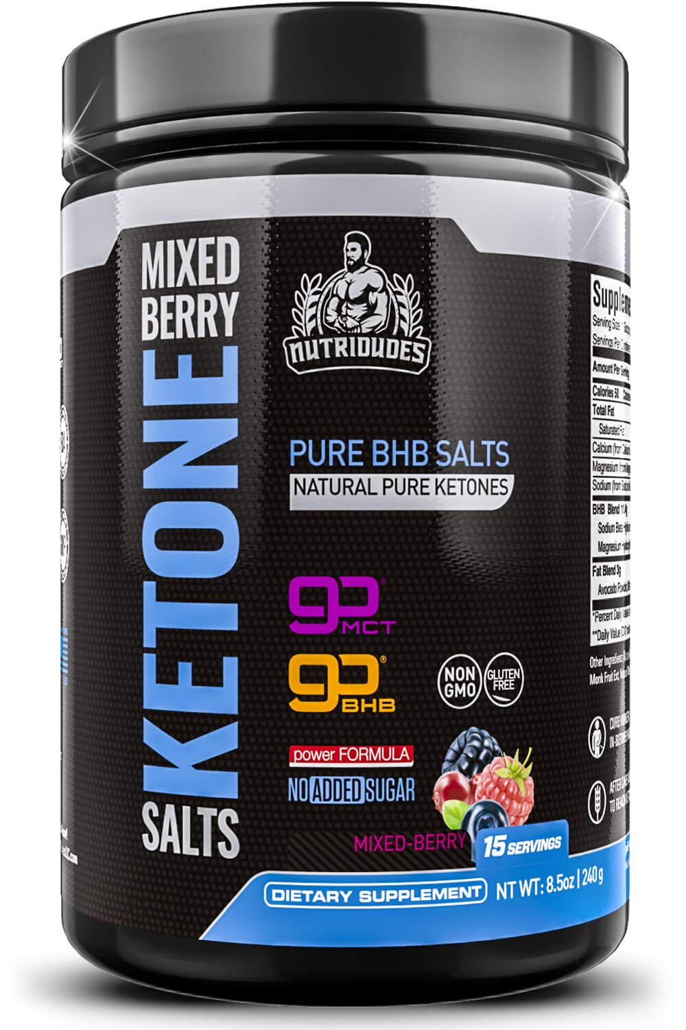 NutriDudes Exogenous Ketones Supplement Drink - BHB Powder for Keto Diet - Quick Ketosis, Appetite Suppression, Boost of Energy, and Focus Using Beta-Hydroxybutyrate Salts (Mixed Berry) by NutriDudes