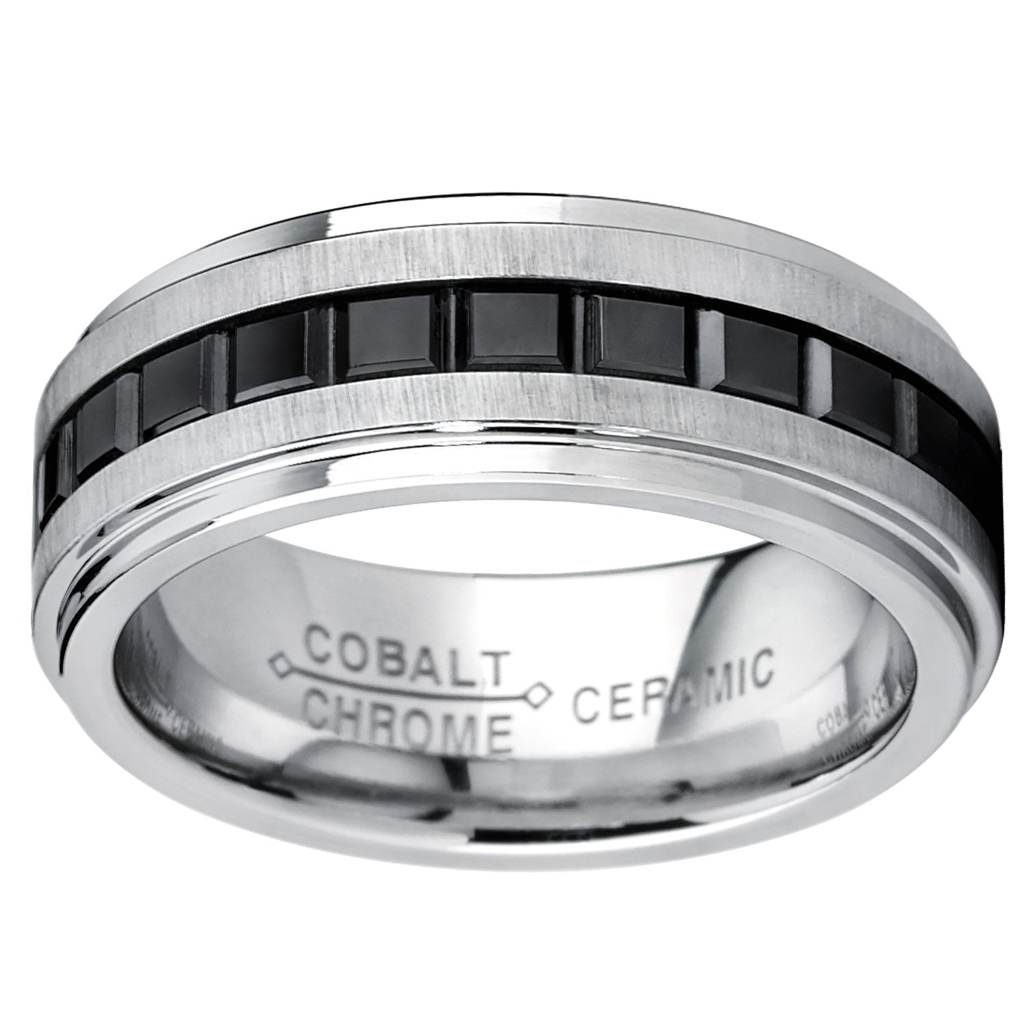 Metal Masters Co Two Tone Brushed Cobalt Wedding Band Ring with Princess Cut Design Black Ceramic 8mm Comfort Fit