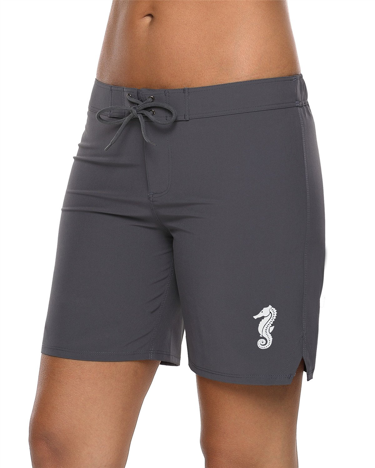 Maysoul Women Board Shorts Swimming Shorts Beach Swim Trunks Quick Drying Grey XXXL