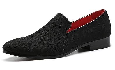 36b87cf51089a Casual Dress Shoes for Men Elegant Moccasin Wedding Italian Floral Smoking  Slipper Loafer Black 5.5 D