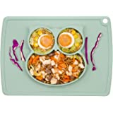 Silicone Placemat - Toddler Plates BPA-Free FDA Approved Feeding Plate Mat 11x8x1 inch for Babies Kids with Strong Suction Fits Most Highchair Trays Dishwasher and Microwave Safe