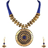 Zephyrr Hand Crafted Fashion Tibetan Beaded Pendant Long Necklace Earrings Set for Women Casual Junk Jewelry