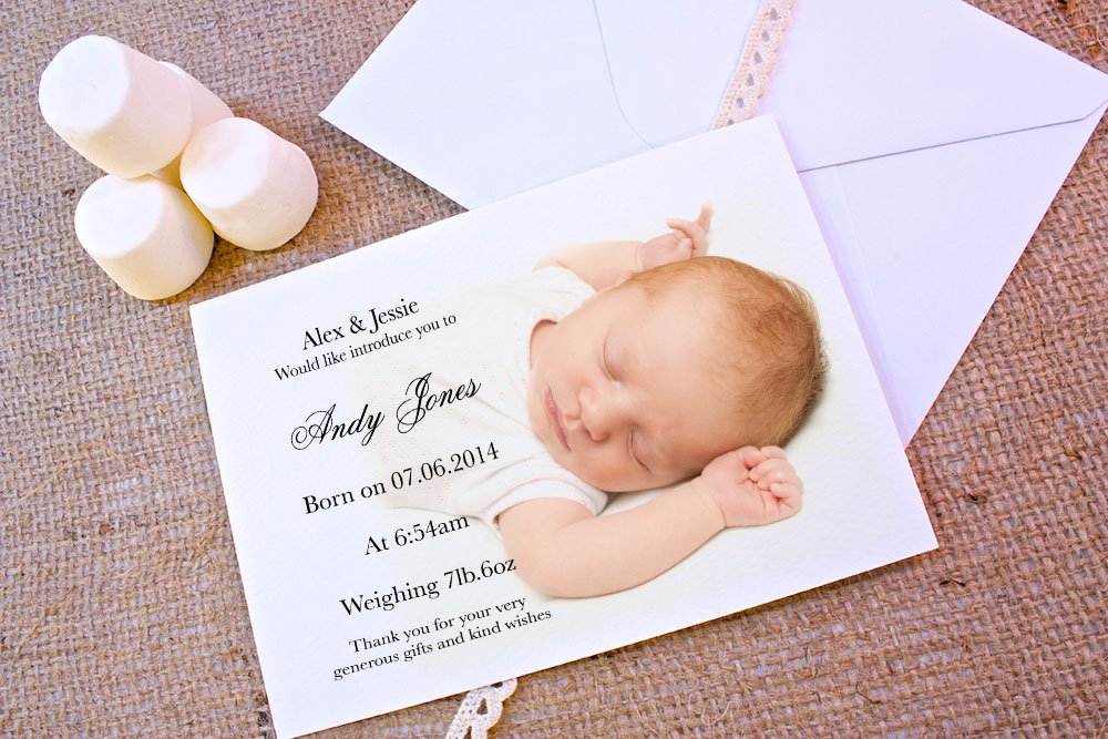 A5 double-sided Silk card Made by Mika Personalised baby announcements BABY ANNOUNCEMENT PHOTO FREE DRAFT & FREE ENVELOPES (200, A5 double-sided Silk card)