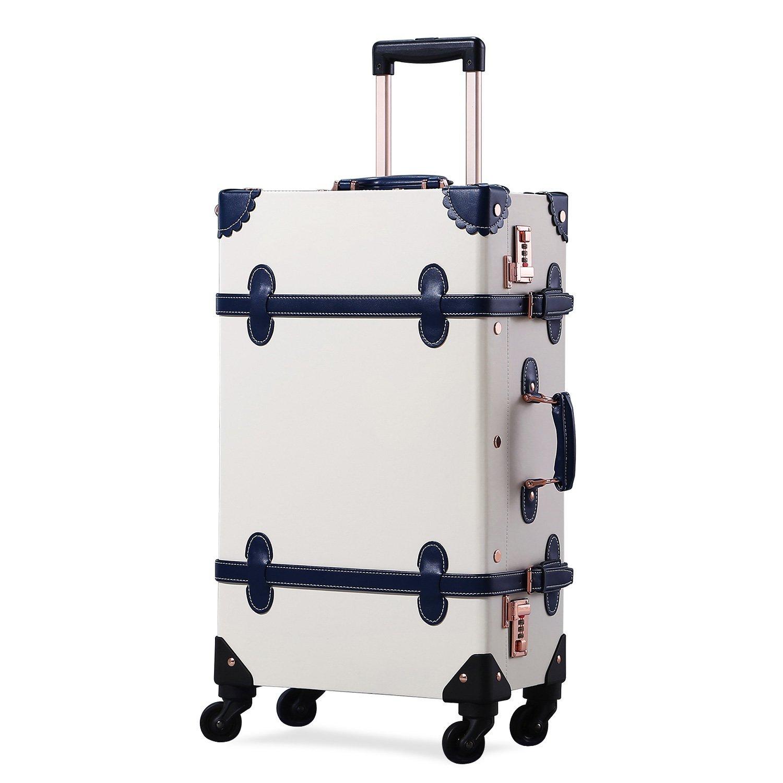 Uniwalker スーツケース 超軽量 キャリー ケース トランクケース 旅行 出張 復古主義 四輪 キャリーバッグ 機内持込可 B07DRDXK9W アイボリー M (22)型