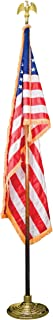 """product image for United States Flag with 7"""" Goldtone Eagle and Wooden Staff, 3' x 5'"""