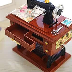 Decoración del hogar Vintage Music Box Mini Máquina de Coser ...