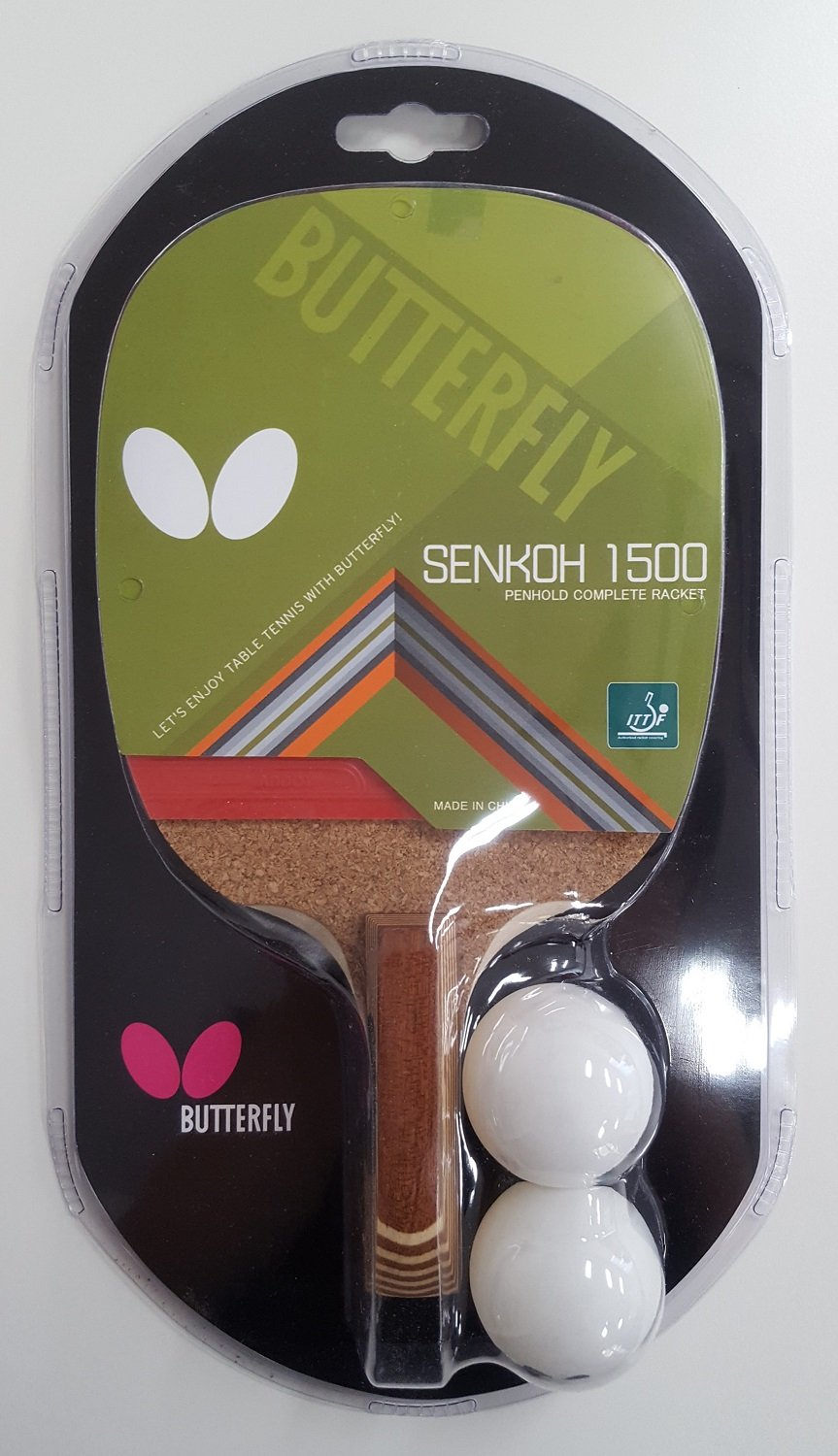 42cc5be39 Amazon.com   Butterfly Senkoh 1500 Penhold Table Tennis Racket with Rubber  and Brown Handle   Sports   Outdoors