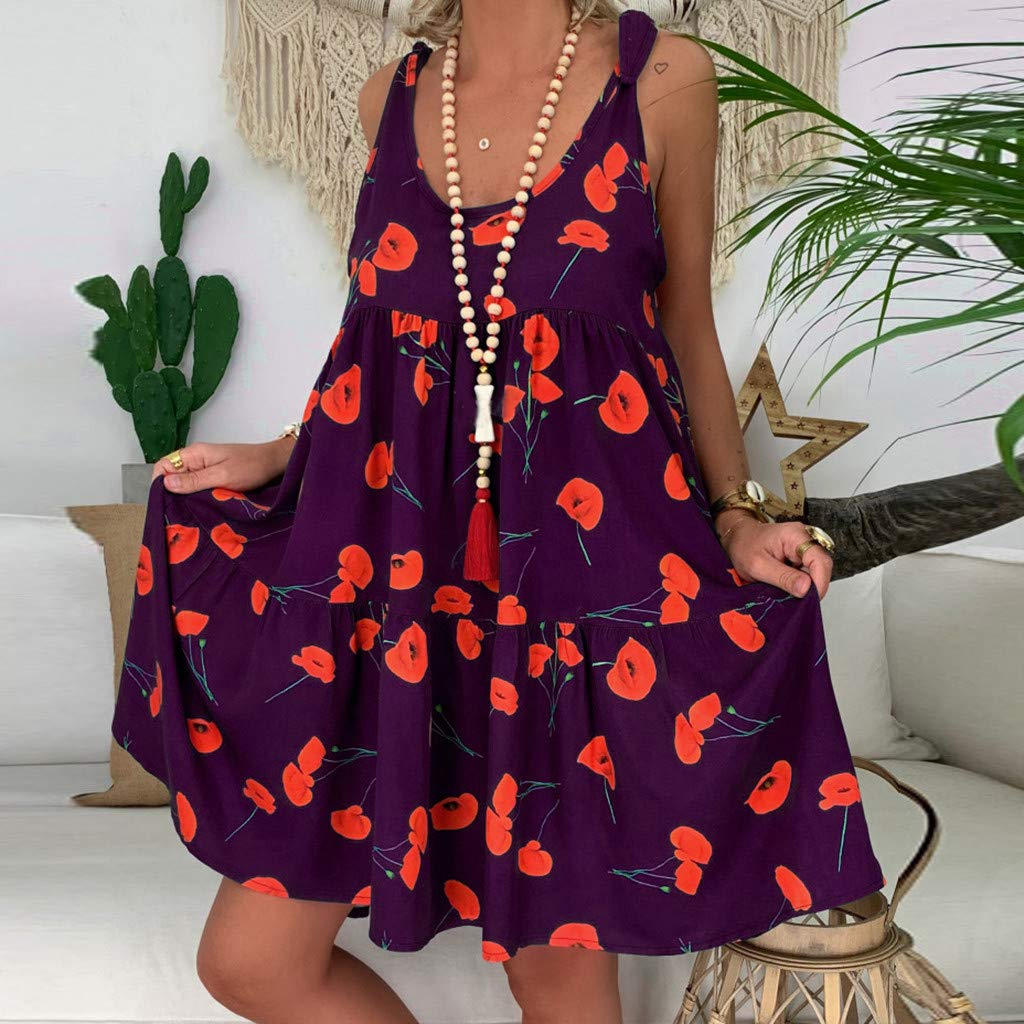 AMhomely Womens Ladies Loose Floral Print Bandage Mini Dress Sleeveless Loose Large Dress Summer Dresses for Women Prom Dresses Evening Dresses Casual Plus Size Maxi Dresses