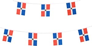 TSMD Dominica Flag, 100 Feet Dominican Republic Flags National Country World Pennant Banner String,International Party Decorations for Olympics,Bar,Grand Opening,Sports Events,Festival Celebration