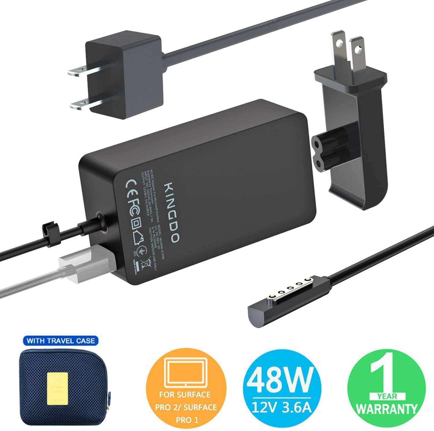 Magnetic AC Wall Home Charger Adapter Power Cord for Microsoft Surface Pro 2 tab