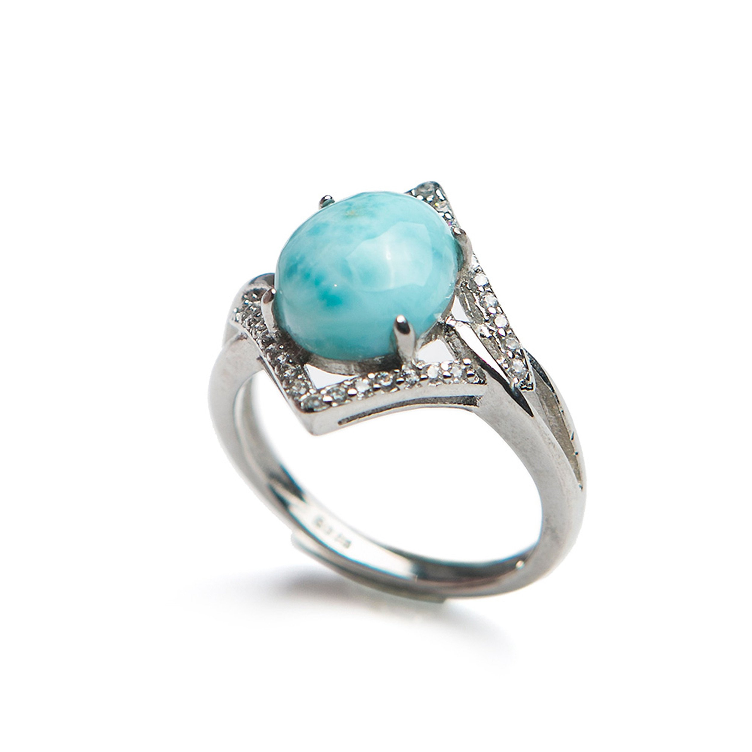 LiZiFang Natural Blue Larimar Gemstone Fashion Silver Party Wedding Woman Rings
