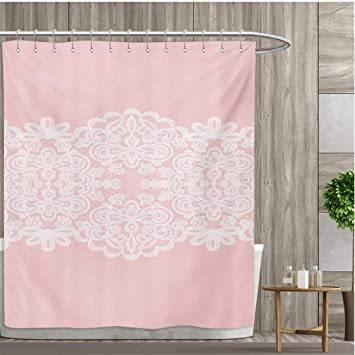 Amazon Smallfly Pink And White Fabric Bathroom Set With Hooks