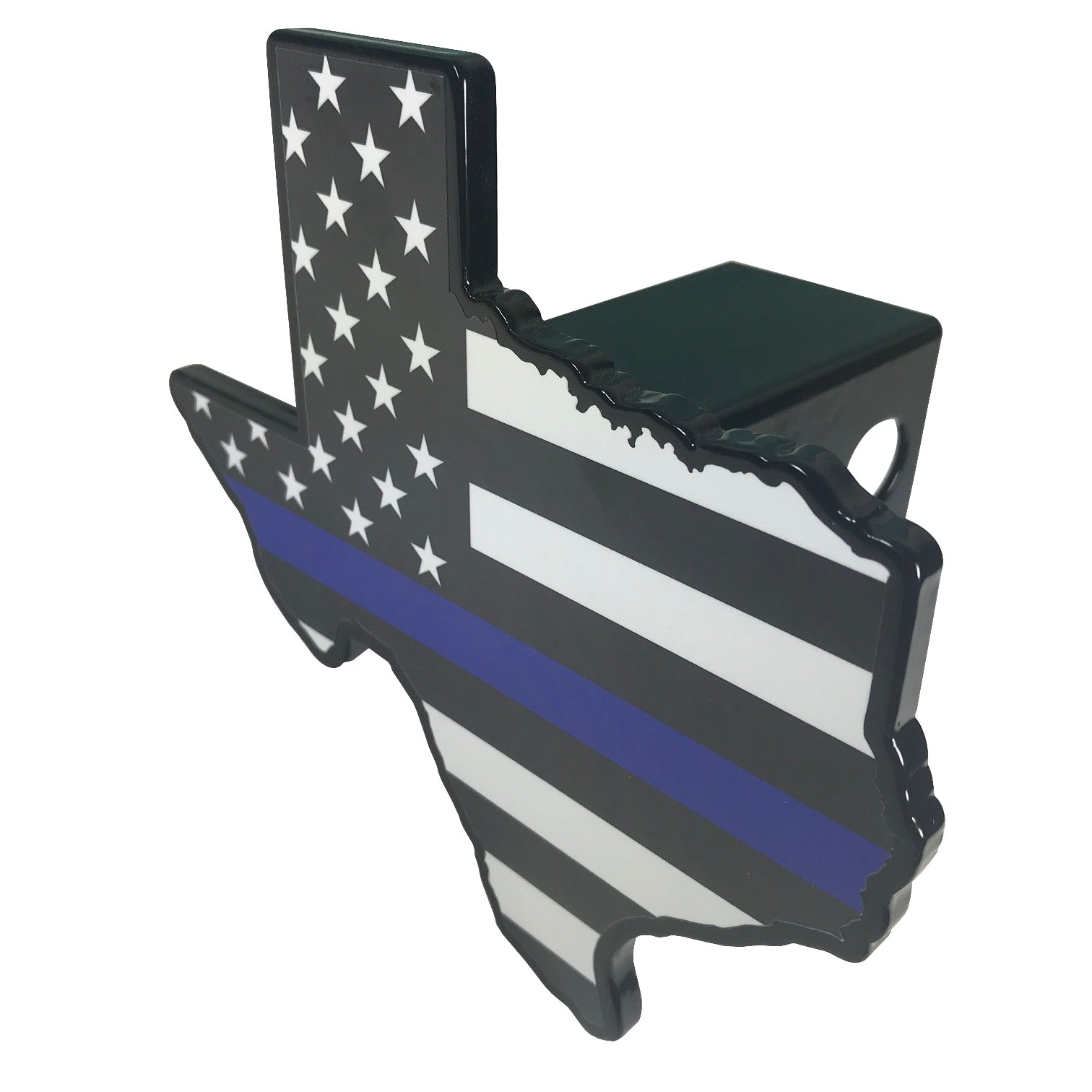 AMG Auto Emblems Premium State of Texas Police Flag (Texas Shaped) SOLID METAL Heavy Duty Hitch Cover by AMG Auto Emblems