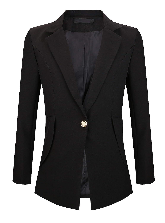 My Wonderful World Womens Slim Fit Casual Work Office Blazers One Button Jacket