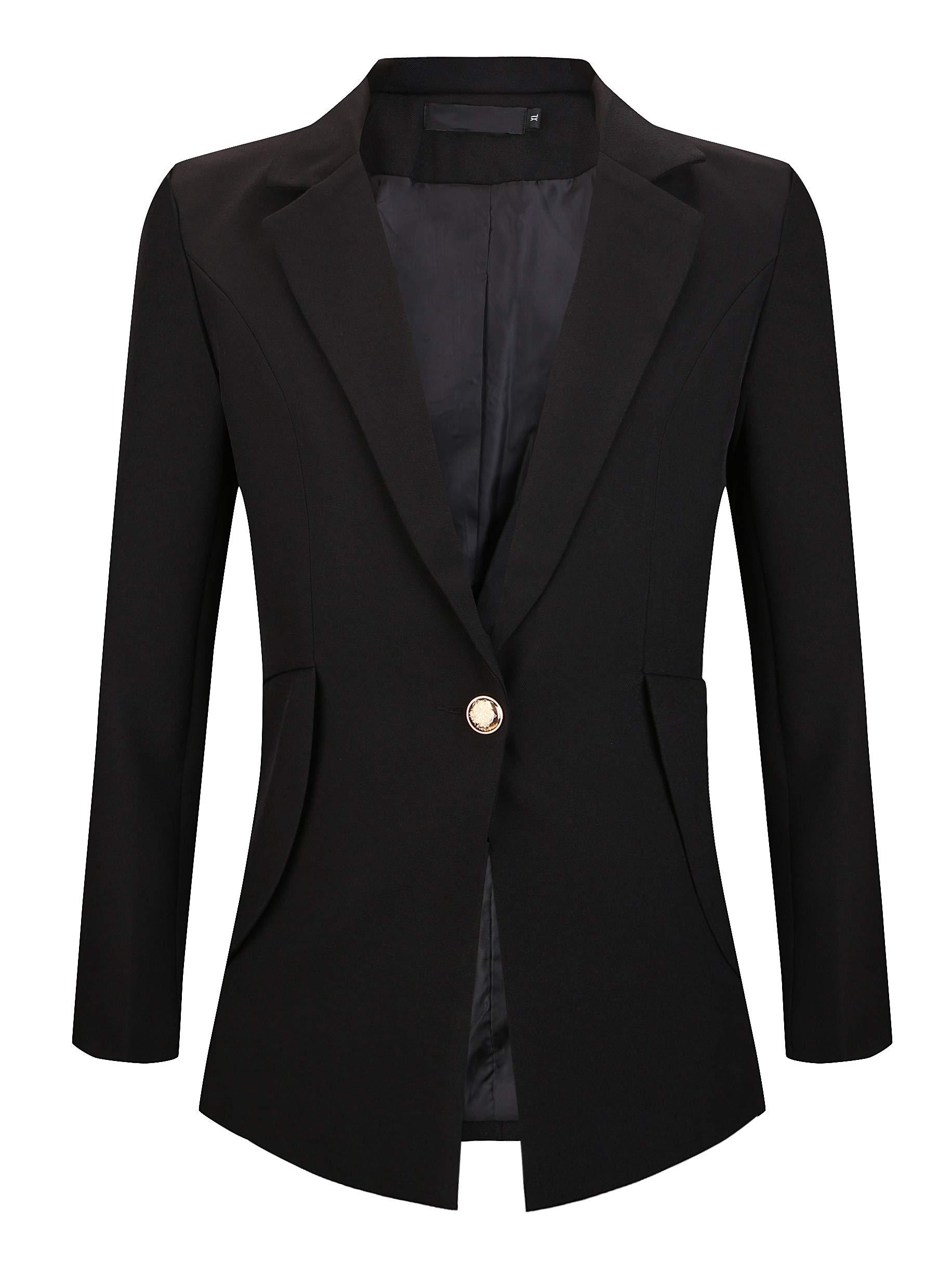 My Wonderful World Women's Slim Fit Notch Collar One Button Jacket Office Blazers Black US 16 (tag Asian 6XL)