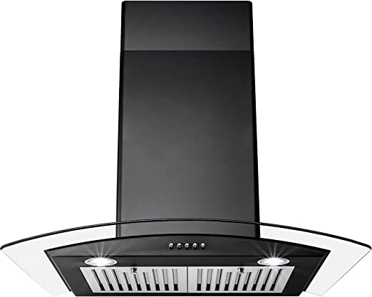 AKDY 30 Island Mount Black Finish Stainless Steel Touch Panel Kitchen Range Hood Cooking Fan