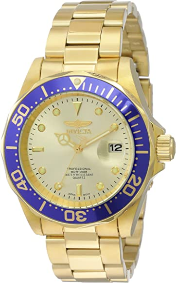 Invicta Men 14124 Pro Diver Gold Dial 18k Gold IonPlated Stainless Steel Watch