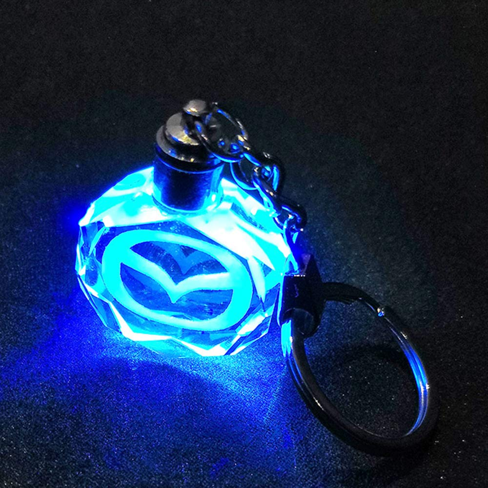 VILLSION Auto VW Key Chain Accessories LED Car Logo Keychain Gift with Box Color Changing Crystal Light