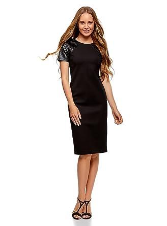 1de147625aff oodji Collection Femme Robe Moulante avec Empiècements en Similicuir  Amazon .fr  Vêtements et accessoires