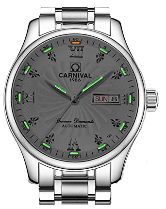 Fanmis Tritium Green Luminous Waterproof Stainless Steel Calendar Men Automatic Mechanical Watches White