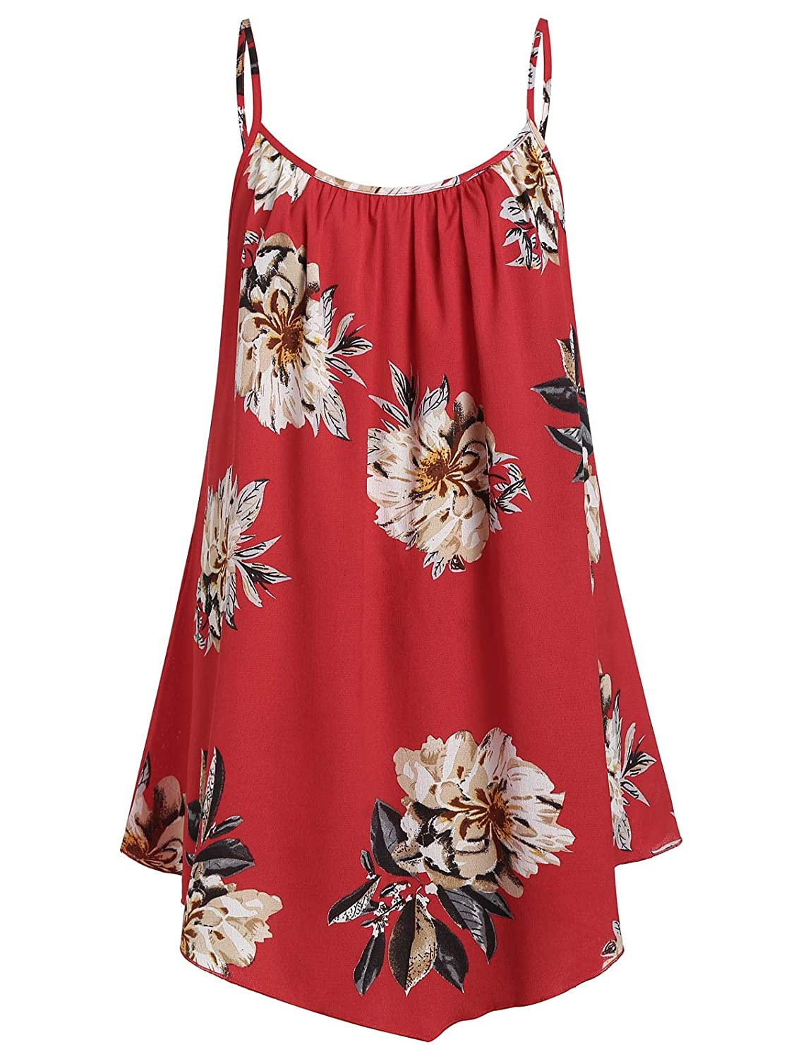 CNSTORE Womens Summer Plus Size Hooded Tied Long Vest with Floral Cami Top Twinset