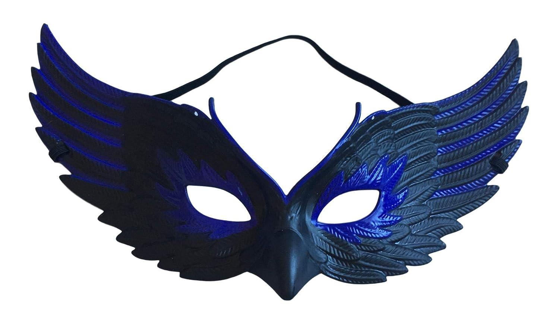 Halloween Black & Purple Feather Mask Crow Plastic Unisex Women's Mens