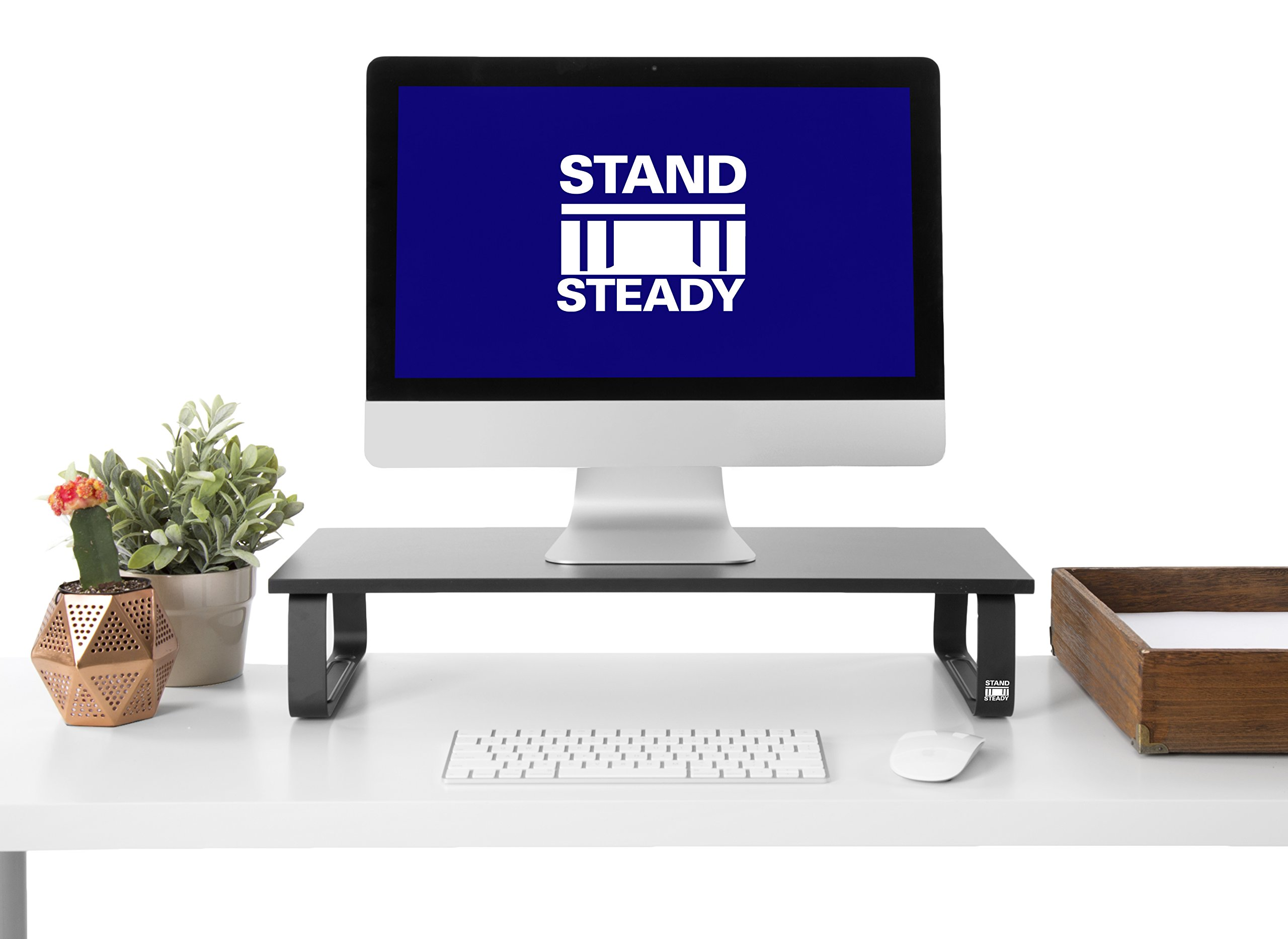 JUMBO Monitor Stand by Stand Steady - Desk Shelf with 4 Padded Feet - 4.75 inches high! Perfect Size for your desk!