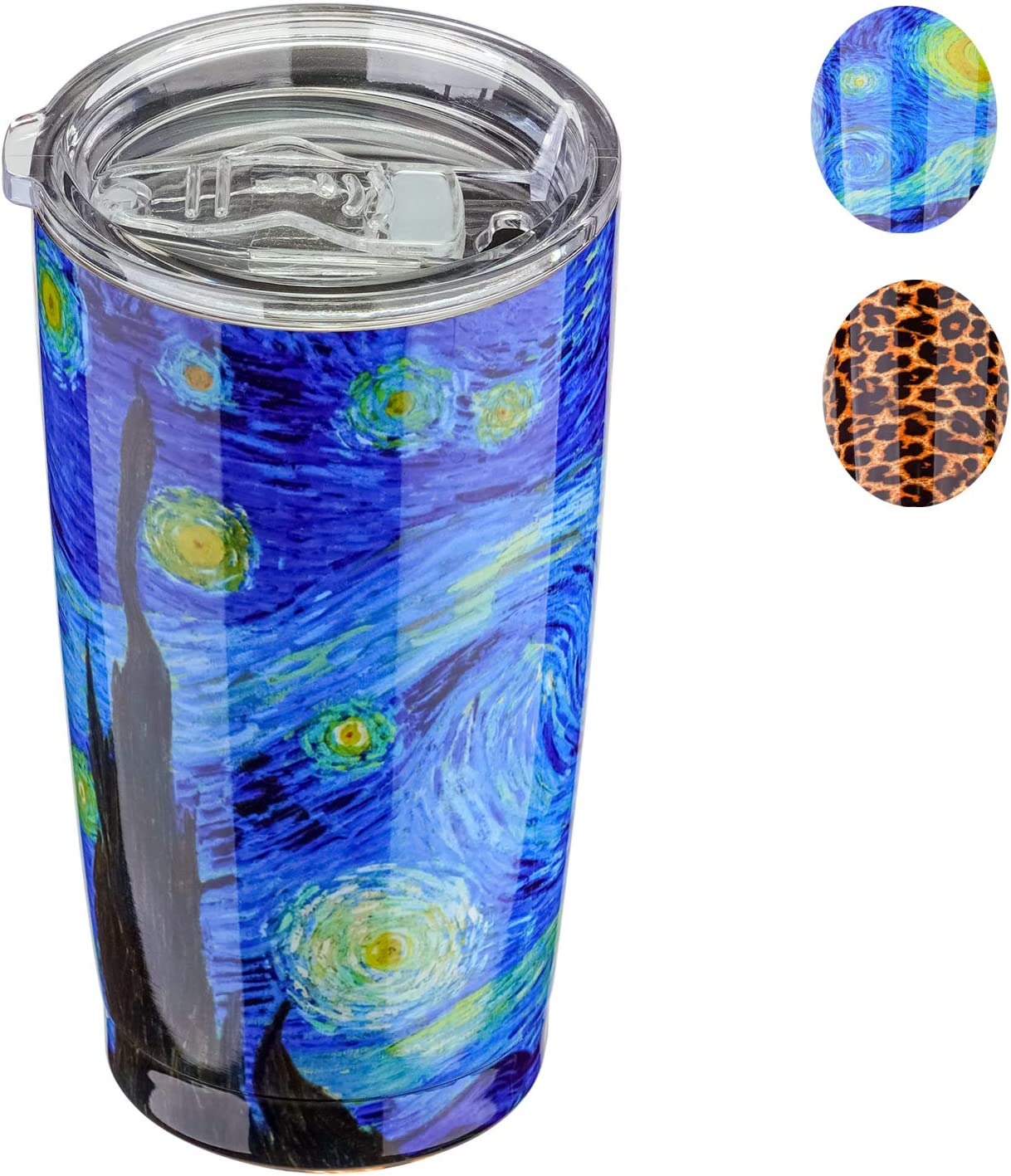 20 oz Tumbler with Lid,18/8 Stainless Steel Vacuum Insulated Tumbler,Double Wall Water Coffee Cup,Insulated Travel Mug,Thermal Cup with Splash Proof Slide Lid (Starry Night)