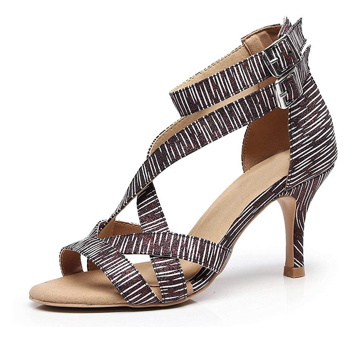 HhGold Damen weiche Gummisohle Knöchelriemen schwarz weiß Latin Salsa tanzen Schuhe Hochzeit Schuhe UK 7 (Farbe   - Größe   -)