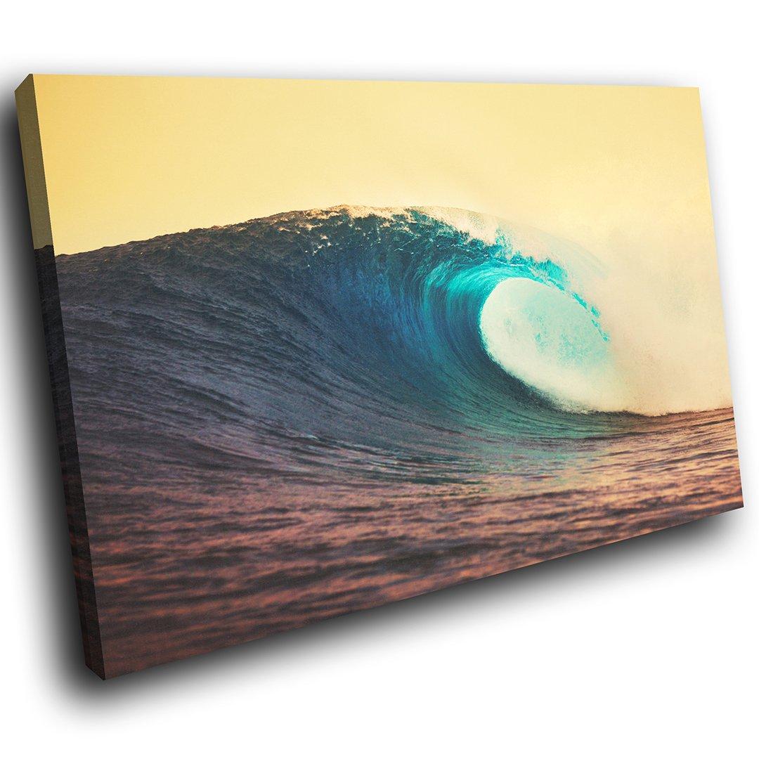 SC710GSB gerahmte Bunte Leinwanddruck Wand-Kunst - Gelb Blue Wave ...