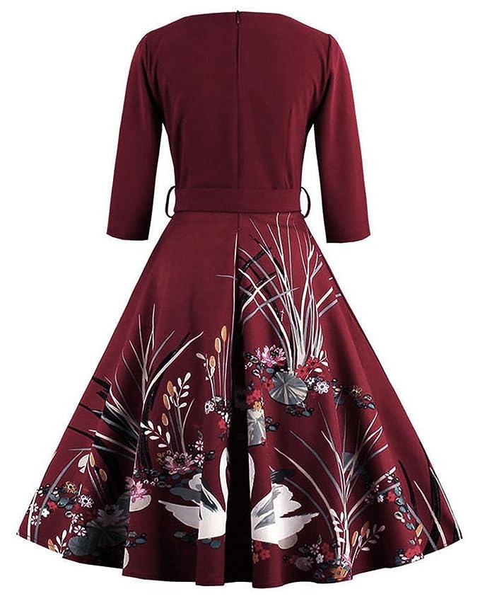ZAFUL Mujer Elegantes Vestido Retro Vintage Verano Vestidos de Fiesta Noche Tallas Grandes Mangas Cortas Rockabilly XL: Amazon.es: Ropa y accesorios
