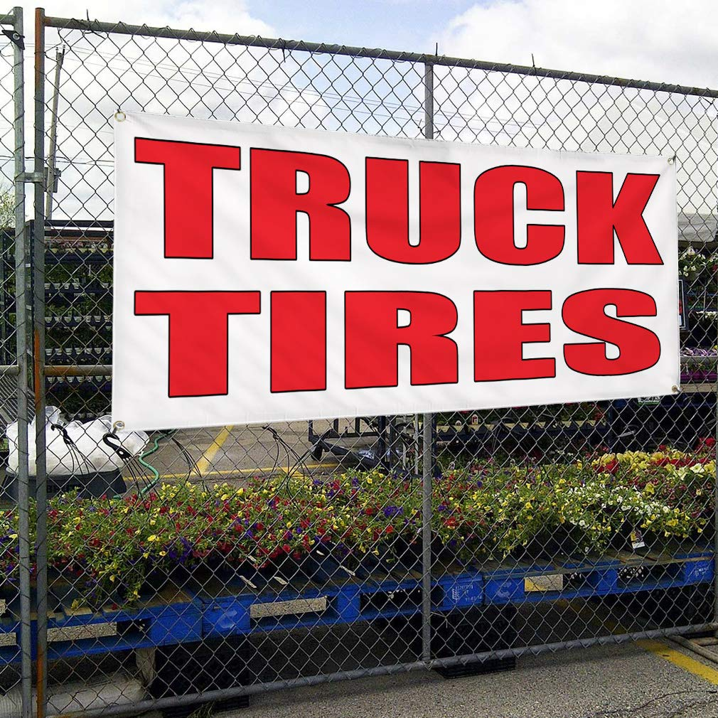 Vinyl Banner Sign Truck Tires Auto Body Shop Car Repair Style U Marketing Advertising 4 Grommets 28inx70in Multiple Sizes Available Set of 2