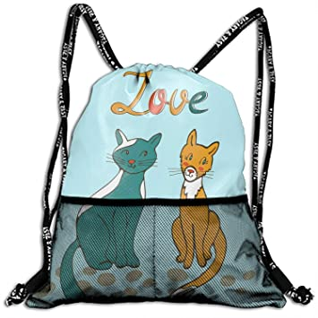 Romantic Cats Couple Drawstring Backpack String Bag Nice Gift For  Boyfriend Girlfriend 4731d83d3