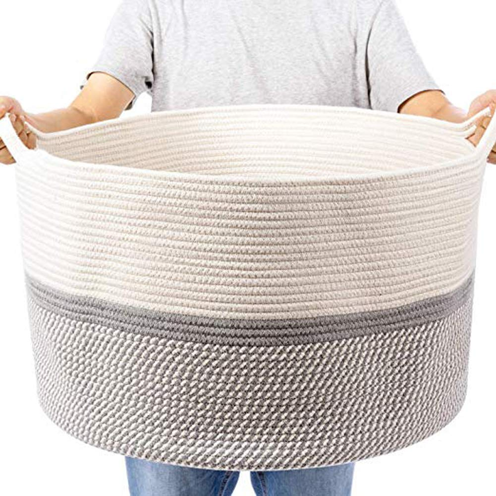 Hossejoy Gray Large Cotton Rope Basket, Blanket Storage Basket with Handles, Decorative Clothes Hamper Basket, Extra Large Baskets for Blankets Pillows or Laundry (Wide 21''x Height13'') by Hossejoy