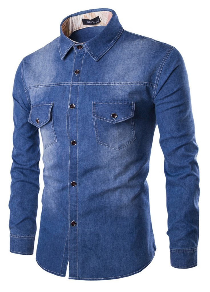 Sawadikaa Men's Casual Vintag Denim Work Shirt Button Down Long Sleeve Stretchy Shirts Blue Large