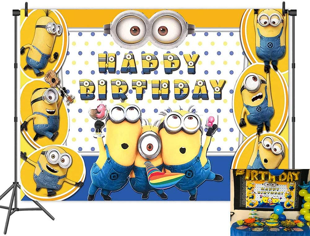 Cartoon Minions Backdrop Yellow Cartoon Animation Photo for Children Kid Happy Birthday Party Background Baby Shower Cake Table Banner Studio Props 7x5FT