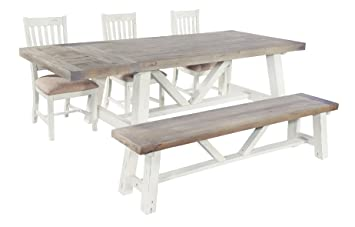 Palermo Rustic Driftwood Pine Dining Table SetDistressed White Base - Driftwood dining table set