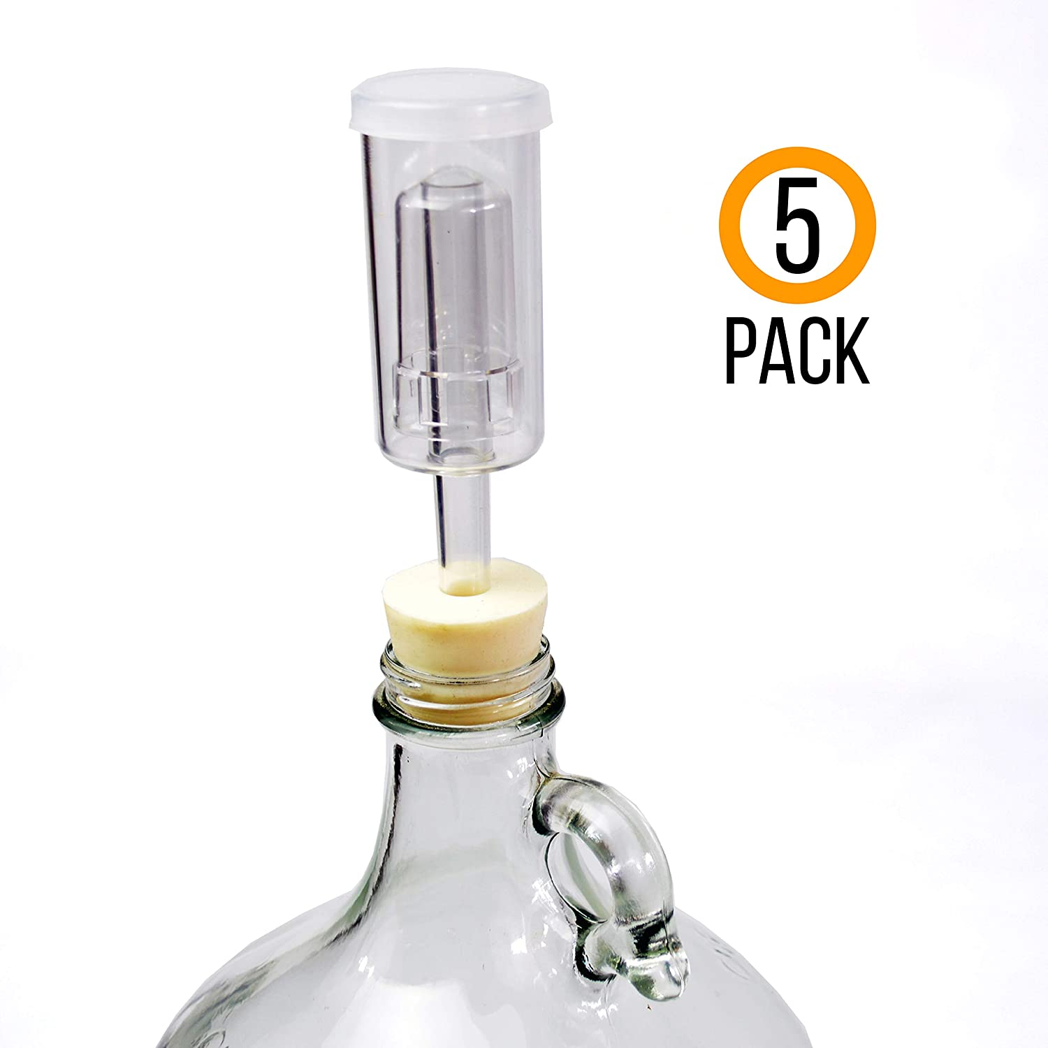 Box Brew Kits (5 Pack) Three-Piece Airlock and Drilled #6 Stopper Fermentation Beer Making Wine Making Kombucha Fits Gallon Jugs (5)