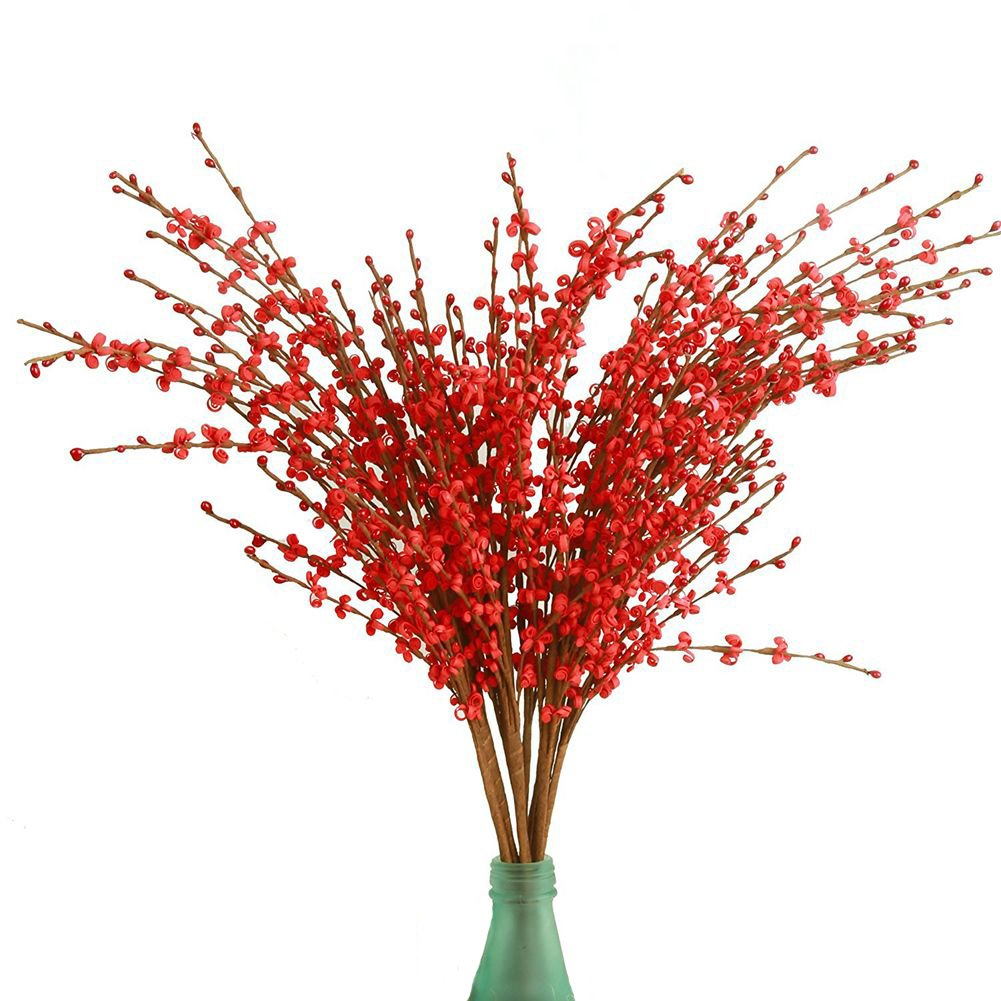 Cadver 10 pcs Artificial Jasmine Flowers Faux Branches for Home Rome Wedding Decoration (pink)